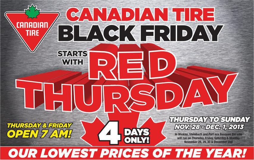 Canadian Tire Red Thursday & Black Friday Sale (Nov 28 - Dec 1)