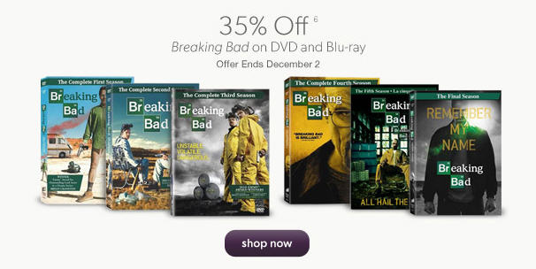 Chapters Indigo 35 Off All Breaking Bad DVD and Blu-ray (Until Dec 2)
