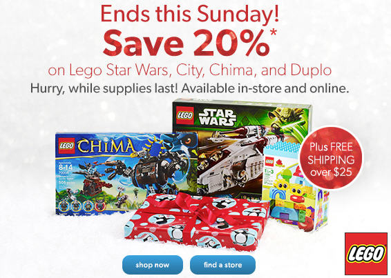 Chapters Indigo Save 20 Off on Lego Star Wars, City, Chima and Duplo + $5 Off Code + Free Shipping (Until Nov 24)