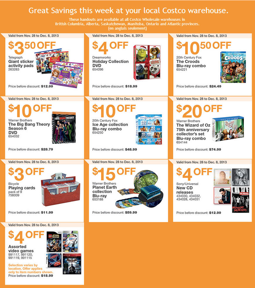 Costco Weekly Handout Instant Savings Coupons (Nov 28 - Dec 8)