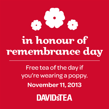 DAVIDsTEA FREE Tea of the Day If You're Wearing a Poppy (Nov 11)