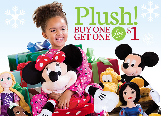 Disney Store Plush Sale - Buy 1, Get 1 for $1