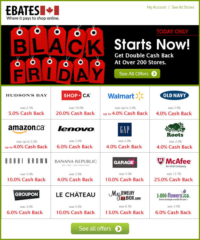 Ebates Black Friday - Get Double Cash Back at Over 200 Stores - Today Only (Nov 29)