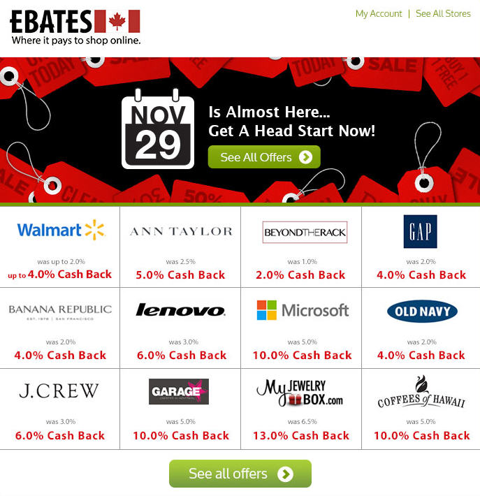Ebates Black Friday with Double Cash Back Offers