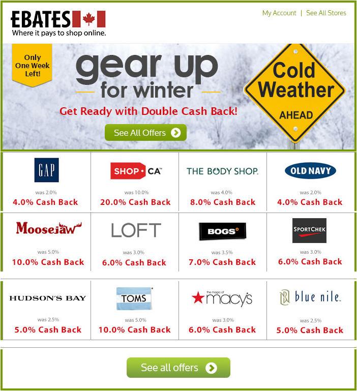 Ebates Double Cash Back - GAP, Shop, Sport Chek, Toms More (Until Nov 11)