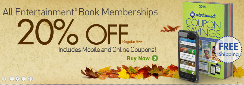 Entertainment Books 20 Off Coupon Books + Free Shipping (Until Nov 19)