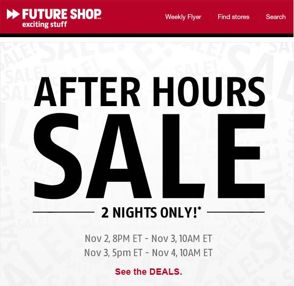 Future Shop After Hours Online Sale (Nov 2-3)