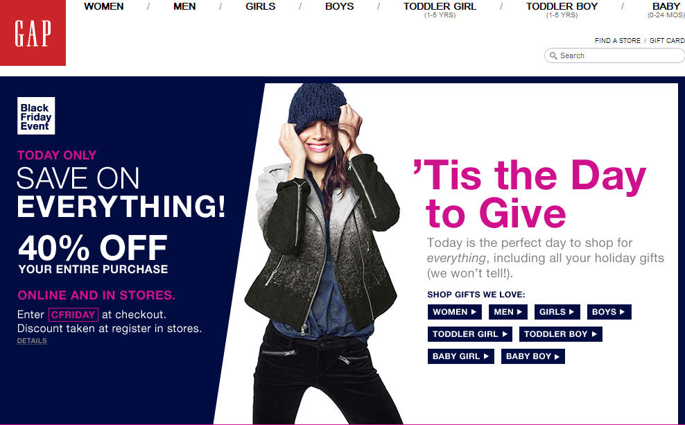 GAP Black Friday Event - 40 Off Your Entire Purchase - Today Only (Nov 29)