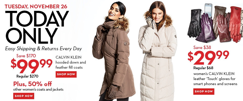 Hudson Bay One Day Sales - 63 Off Calvin Klein Hooded Down Jacket
