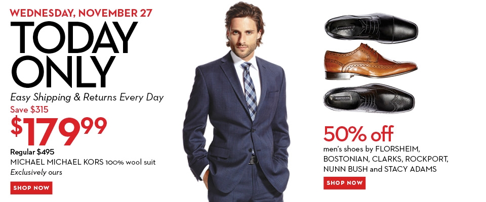 Hudson's Bay One Day Sales - $179 for a Michael Kors Suit and 50 Off Select Men's Shoes (Nov 27)