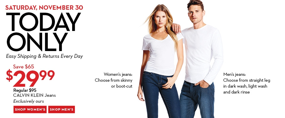 Hudson's Bay One Day Sales - $30 for Calvin Klein Jeans + Black Friday Weekend Sale (Nov 30)