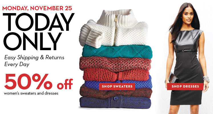 Hudsons Bay One Day Sales - 50 Off Women's Sweaters and Dresses (Nov 25)