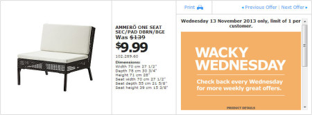 IKEA - Calgary Wacky Wednesday Deal of the Day (Nov 13) B
