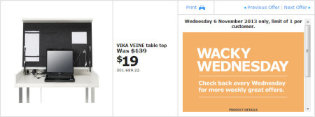 IKEA - Calgary Wacky Wednesday Deal of the Day (Nov 6) B