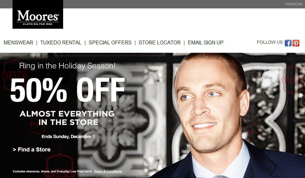 Moores Clothing 50 Off Almost Everything (Until Dec 1)