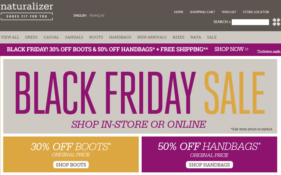 Naturalizer Black Friday - 30 Off All Boots 50 Off All Handbags + Free Shipping (Nov 29)