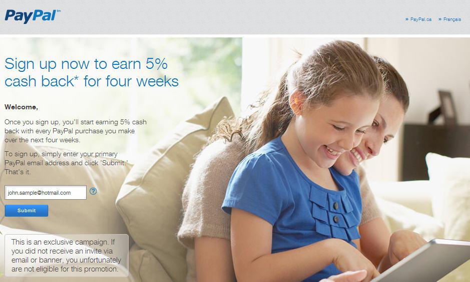 PayPal Get 5 Cash Back for Four Weeks (Until Dec 12)