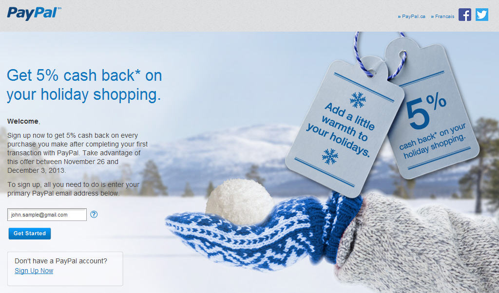 PayPal Get 5 Cash Back on Your Holiday Shopping (Until Dec 3)