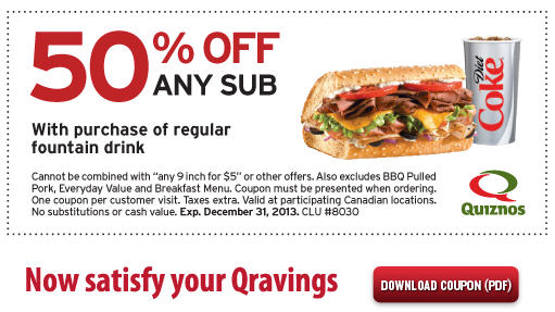 Quiznos 50 Off Any Sub Coupon with Drink Purchase (Until Dec 31)