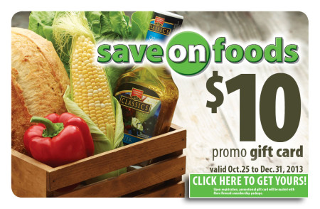 Save on Foods FREE $10 Promo Gift Card (Until Dec 31)