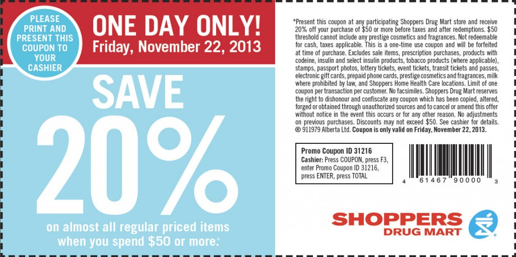 Shoppers Drug Mart $20 Off Coupon when you Spend $50 or more (Nov 22)