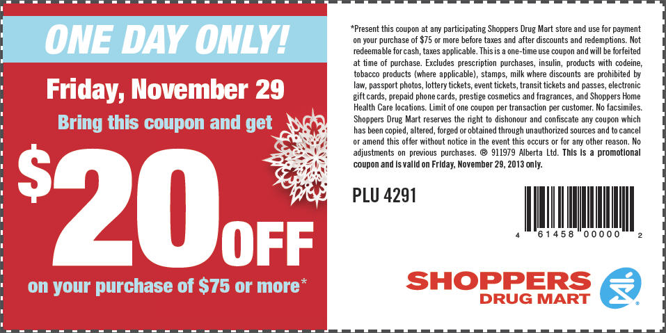 Shoppers Drug Mart Black Friday - $20 Off on your Purchase of $75 (Nov 29)