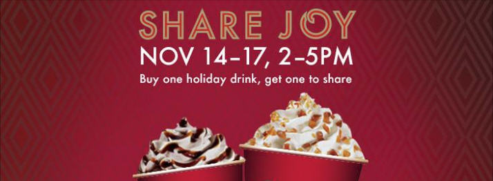Starbucks Buy One Holiday Drink, Get One for Free (Nov 14-17, 2-5pm)