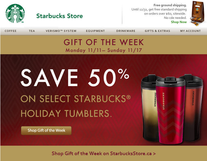 StarbucksStore Gift of the Week - Save 50 Off Select Starbucks Holiday Tumblers (Nov 11-17)