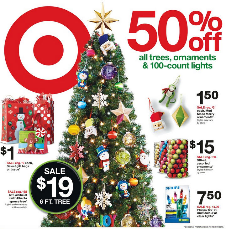 Target 50 Off All Christmas Trees, Ornaments & 100-Count Lights (Nov 22-28)