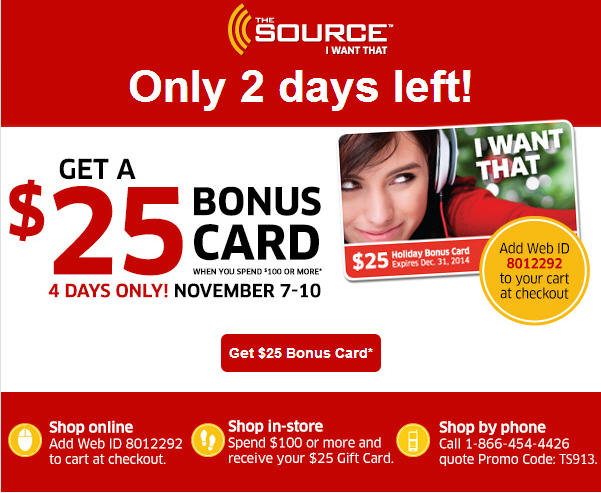 The Source FREE $25 Bonus Gift Card when you Spend $100 or more (Nov 7-10)