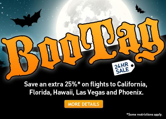 WestJet BooTag Sale - Extra 25 Off Flights to California, Florida, Hawaii, Las Vegas and Phoenix (Book by Nov 1)