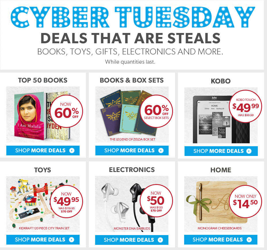 Chapters Indigo Cyber Tuesday - Deals that are Steals