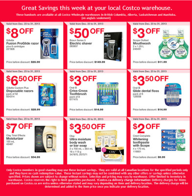 Costco Weekly Handout Instant Savings Coupons WEST (Dec 23-31)