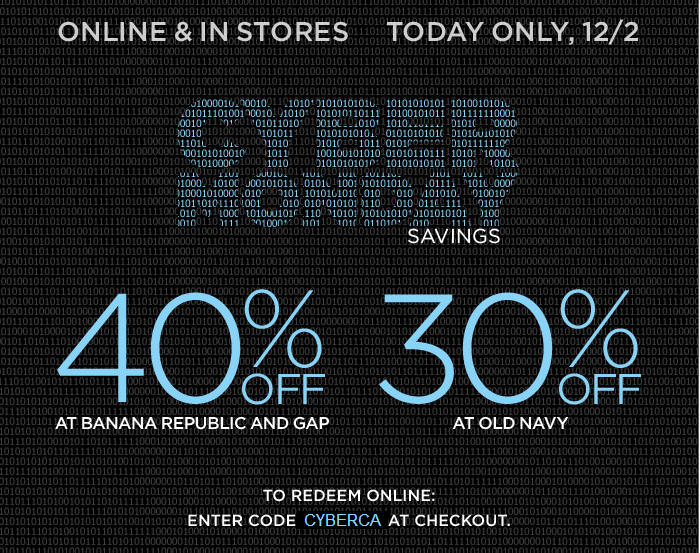 Gap and Banana Republic Cyber Monday - 40 Off In-Stores or Online (Dec 2)