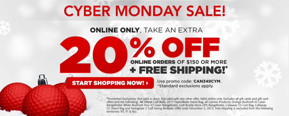 Golf Town Cyber Monday - 20 Off Online Orders Over $150 + Free Shipping (Dec 2)