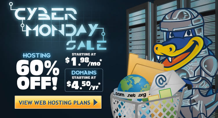 HostGator Cyber Monday - 60 or 75 Off All Web Hosting Packages (Dec 2)
