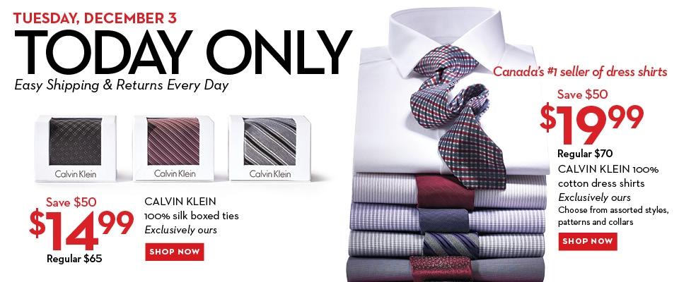 Hudson Bay One Day Sales - $19 for Calvin Klein Dress Shirts $14 for Calvin Klein Ties (Dec 3)