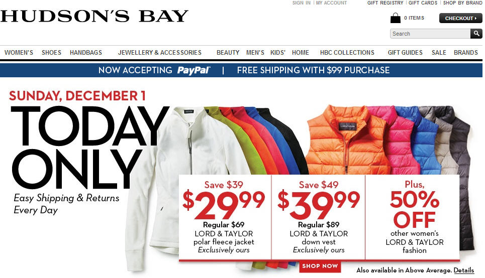 Hudson's Bay One Day Sales - $29.99 for Lord & Taylor Polar Fleece Jacket + Black Friday Weekend Sale (Dec 1)