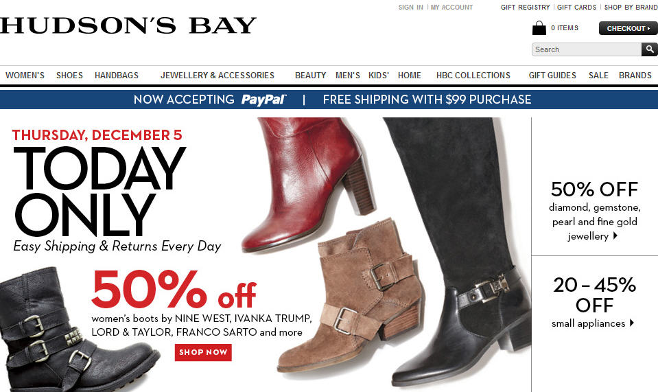 Hudson's Bay One Day Sales - 50 Off Women's Boots (Dec 5)