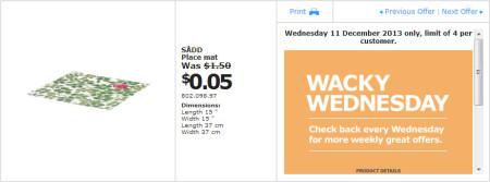 IKEA - Calgary Wacky Wednesday Deal of the Day (Dec 11) B