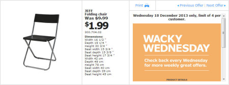 IKEA - Calgary Wacky Wednesday Deal of the Day (Dec 18)