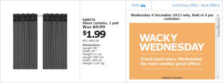 IKEA - Calgary Wacky Wednesday Deal of the Day (Dec 4) B