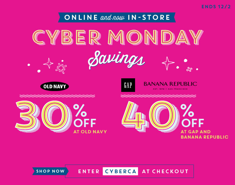 Old Navy Cyber Monday 30 Off In-Stores or Online