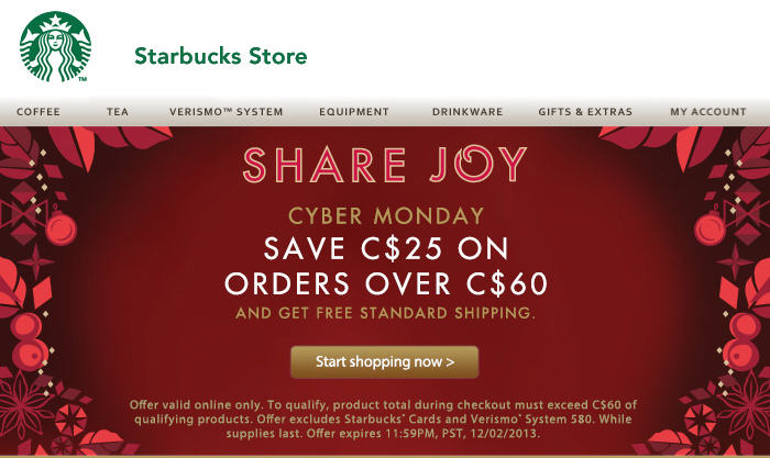 StarbuckStore Cyber Monday - $25 Off Orders Over $60 + Free Shipping (Dec 2)