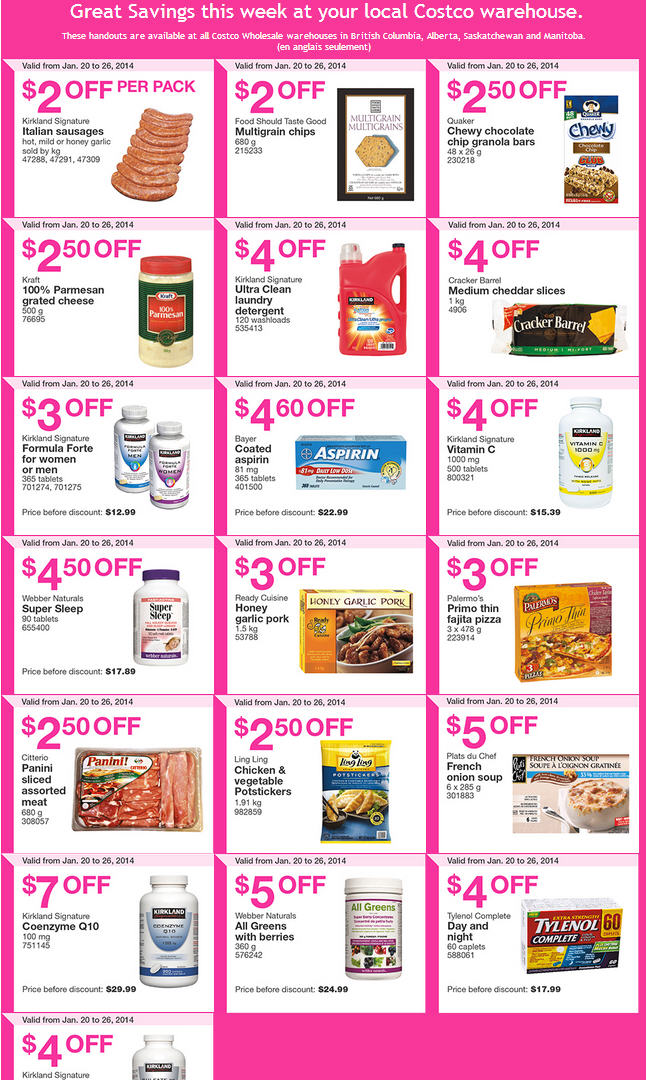 Costco Weekly Handout Instant Savings Coupons (Jan 20-26)