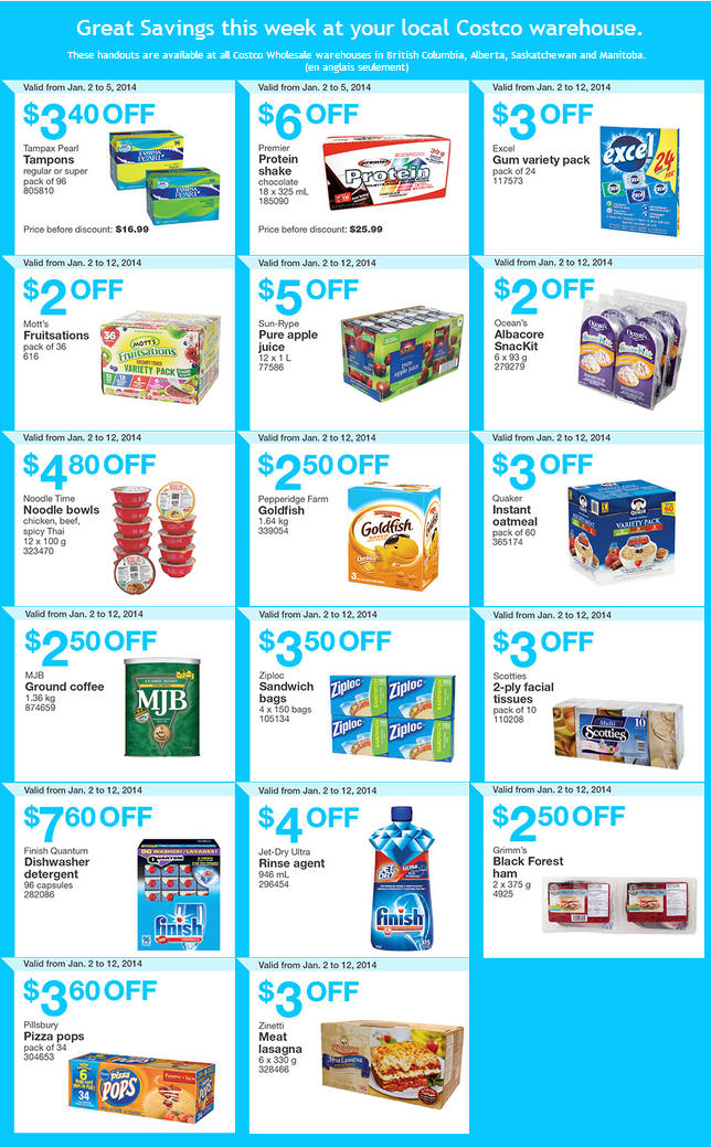 Costco Weekly Handout Instant Savings Coupons WEST (Jan 2-12)