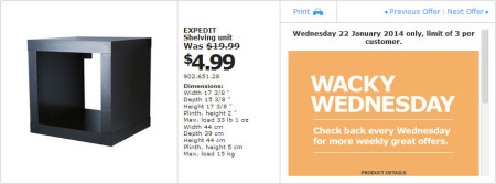 IKEA - Calgary Wacky Wednesday Deal of the Day (Jan 22) A