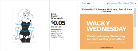 IKEA - Calgary Wacky Wednesday Deal of the Day (Jan 29) A