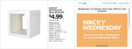 IKEA - Calgary Wacky Wednesday Deal of the Day (Jan 29) B