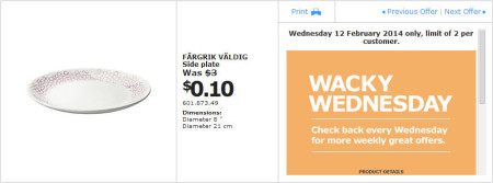 IKEA - Calgary Wacky Wednesday Deal of the Day (Feb 12) A